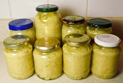 The end result - jars of minced garlic