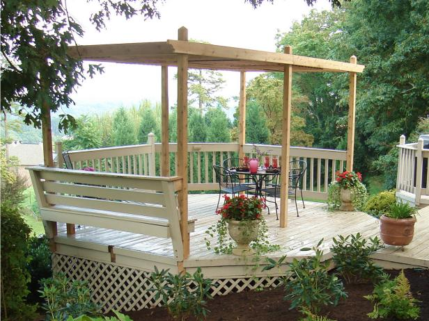 This Pergola Offers A Gorgeous Setting It Is Actually Added Over Rounded Sitting Area On Deck So Because Has Built In Benches That