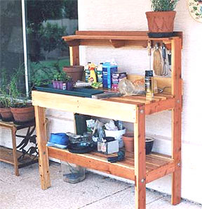 This Garden Work Bench Is Beautiful As It Is Constructed Out Of Cedar Wood.  It Has Ample Of Work And Storage Space.