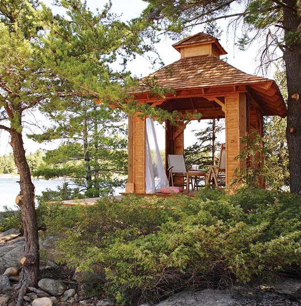 This Gazebo Looks Like A Scene Out Of Paradise It Has Raised Floor And An Interesting Roof Line That Catches Your Attention At First Glance