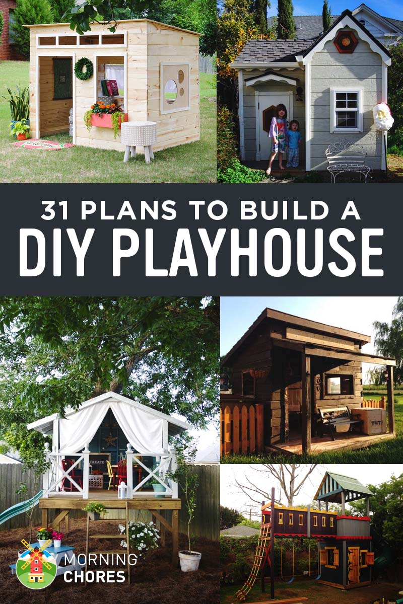 31 free diy playhouse plans to build for your kids 39 secret for Free playhouse blueprints