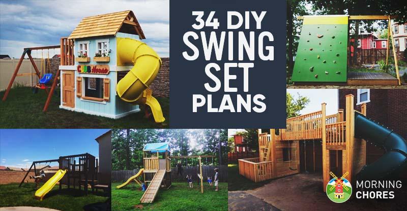 34 free diy swing set plans for your kids fun backyard play area rh morningchores com diy outdoor playground plans
