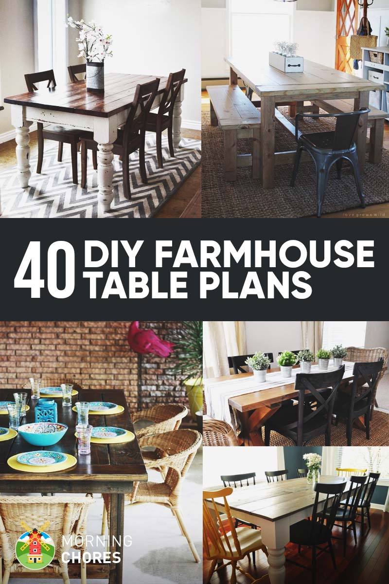5c5291ec974 40 DIY Farmhouse Table Plans   Ideas for Your Dining Room (Free)