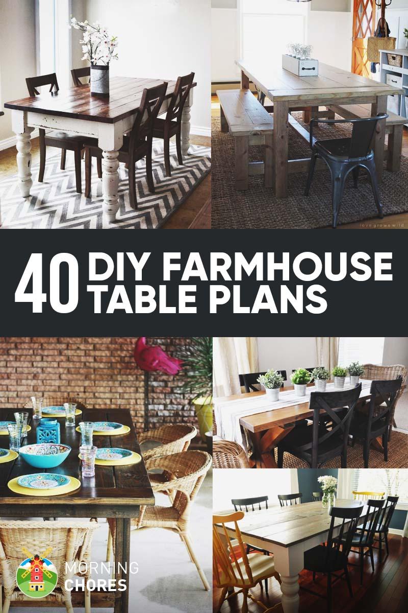40 diy farmhouse table plans ideas for your dining room for Modern farmhouse table plans