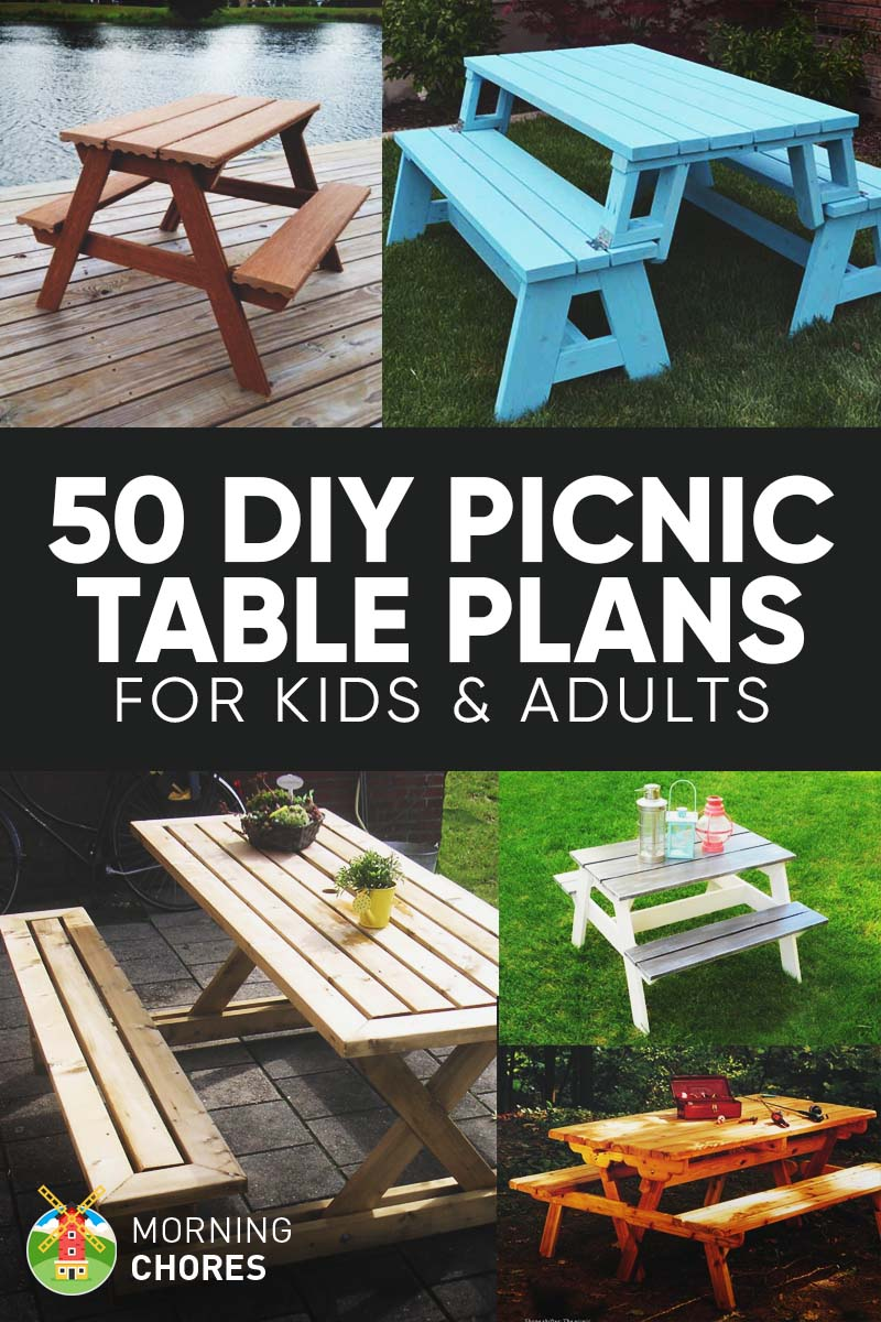 50 free diy picnic table plans for kids and adults for Blueprints for kids