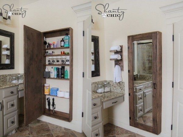 bathroom-ideas-multi-use-mirror bathroom storage ideas