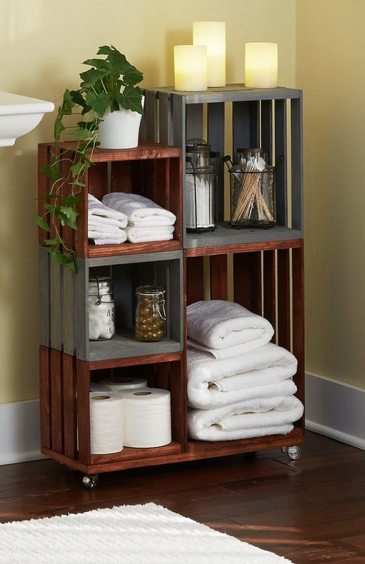 bathroom-ideas-recycle-crate-cabinet bathroom storage ideas