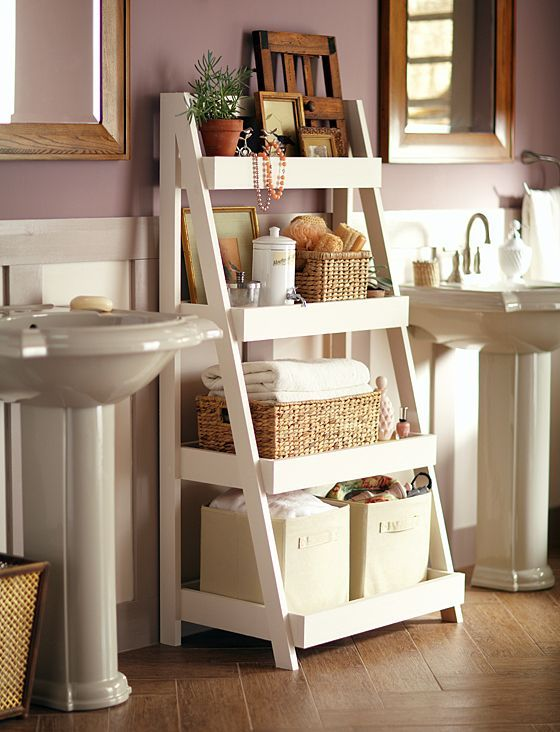 bathroom-ideas-recycle-ladder bathroom storage ideas
