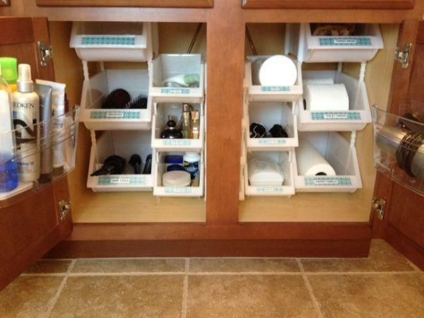 bathroom-ideas-sink-stack-bins bathroom storage ideas