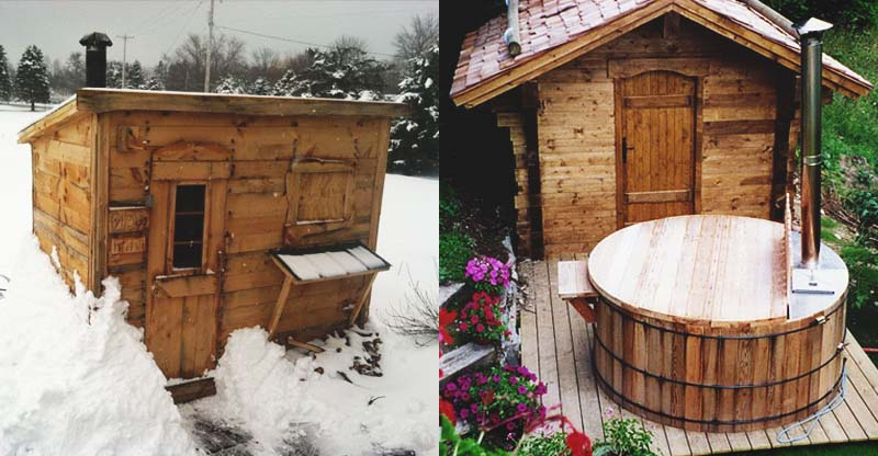 21 inexpensive diy sauna and wood burning hot tub design ideas for Build a wood burning sauna