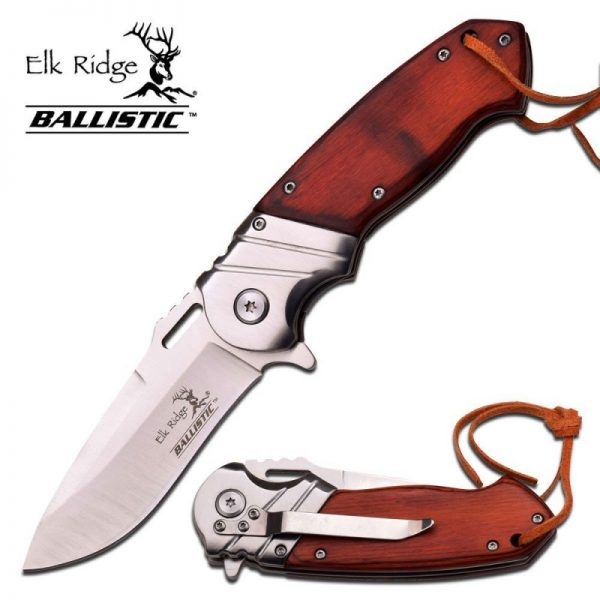 ELK RIDGE Wood Gentleman Spring-assisted Folding Pocket Knife