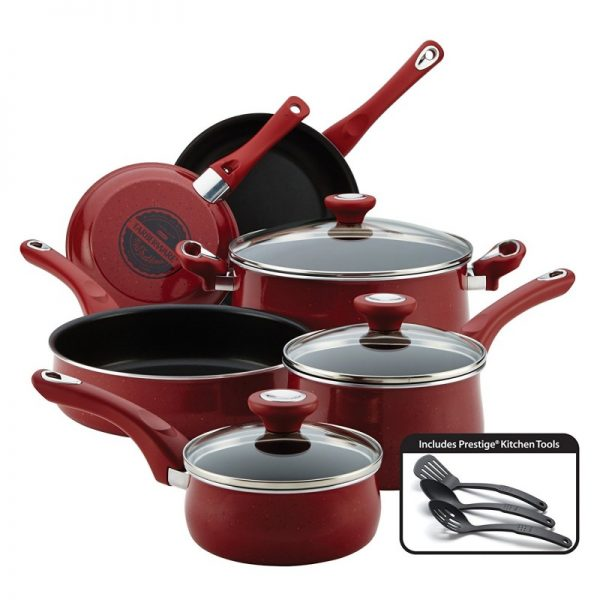 Faberware New Traditions Red Speckled Aluminium 12-Piece Cookware Set