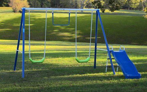 Flexible Flyer Metal Swing Set with Slide