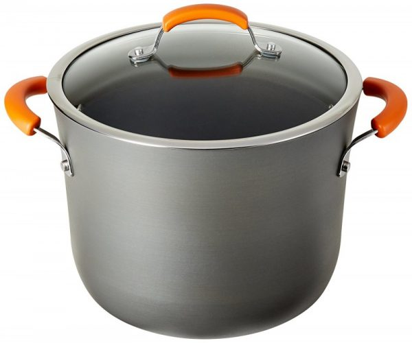 Rachael Ray Hard Anodized II Orange Stock Pot