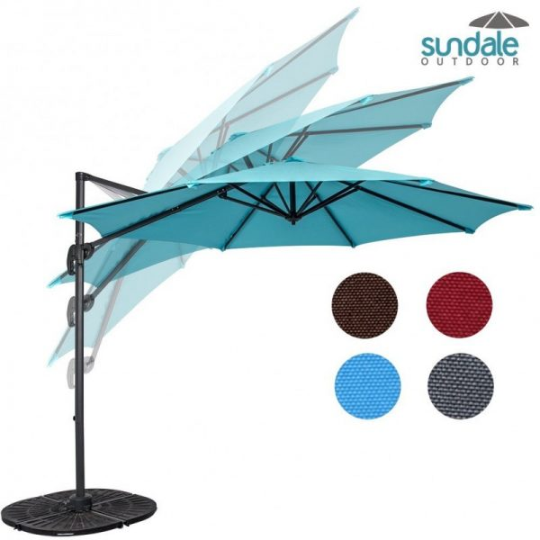 Sundale Outdoor 10-Foot Hanging Roma Offset Umbrella Outdoor Patio