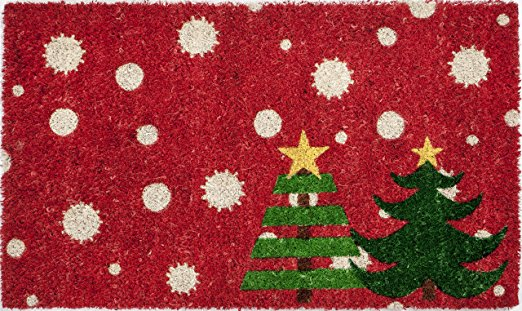 decorating a small home for christmas with a bright doormat