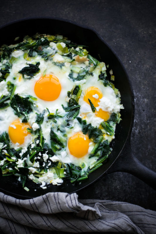dandelions greens with eggs