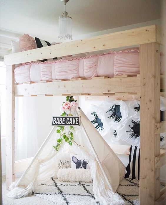 Cute Kids Rooms: 25 DIY Loft Beds Plans & Ideas That Are As Pretty As They