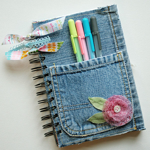 Recycled Jean DIY journal