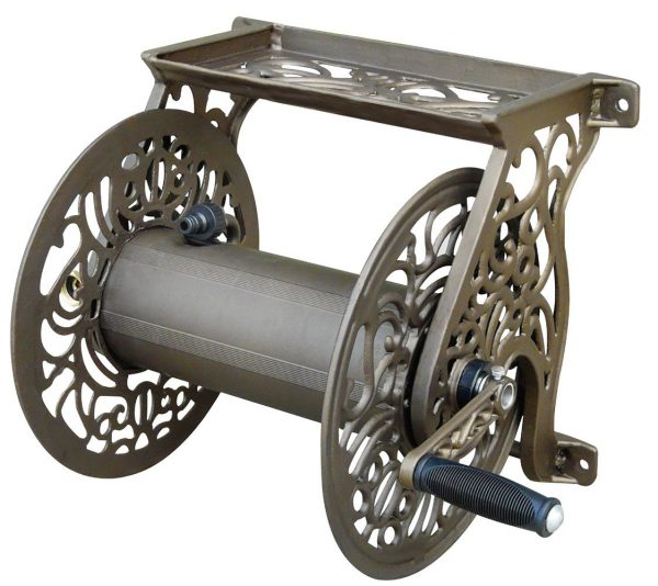 Liberty Garden Products 704 Decorative Cast Aluminum Wall-mount Garden Hose Reel
