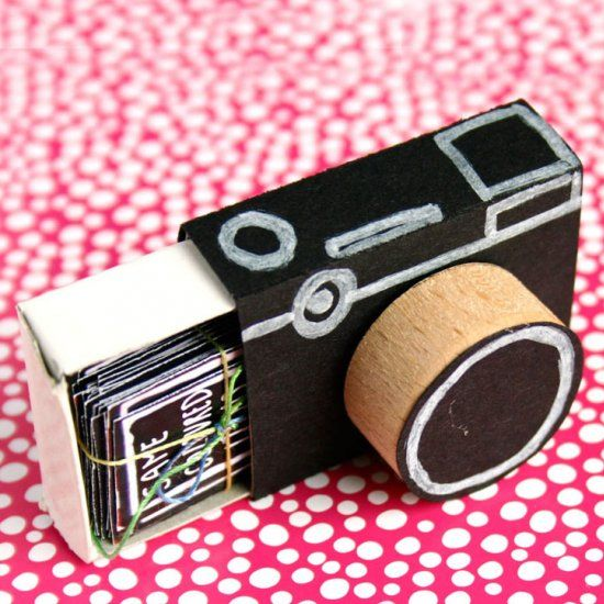 This Is Such A Fun Idea Simply Color Matchbox Black Add The White Parts And Fill Inside With Prompt Cards For Taking Photographs