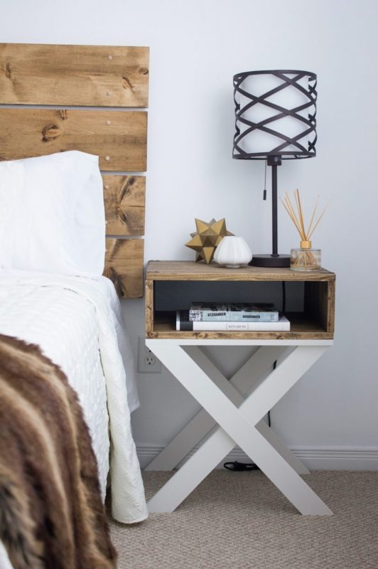 This Nightstand Is Super Trendy And The White Criss Cross Legs Combine Charmingly With Stained Wood