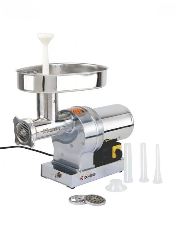 Kitchener #22 Commercial Grade Electric 1 HP (750W), (840-lbs Per Hour) Meat Grinder