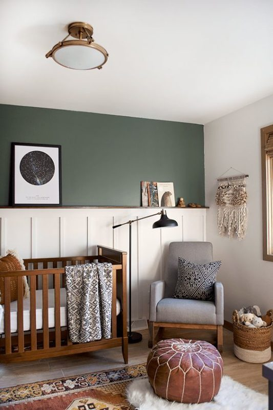 Baby Boy Nursery Decor Ideas A very welcoming feeling to this natural-toned room. The dark hunter green  makes for a wonderful baby boy nursery color.