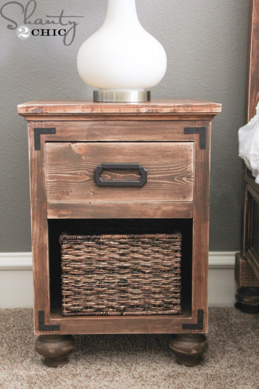 A Rustic And Chic Nightstand With Little Round Bun Feet For An Extra Special Touch