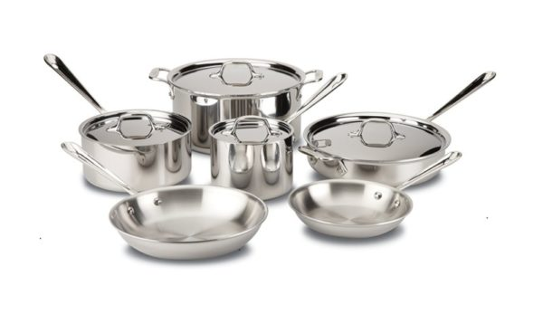 All-Clad 401488R Stainless Steel 10-Piece Cookware Set
