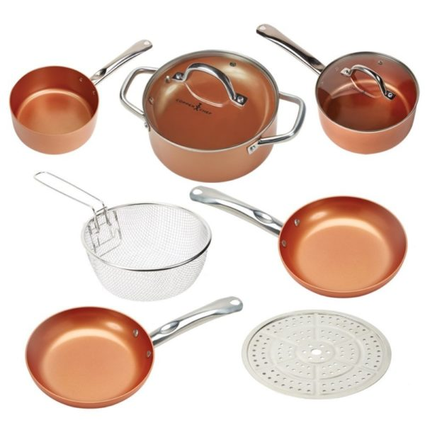 Copper Chef Cookware 9-Piece. Round Pan Cookware Set