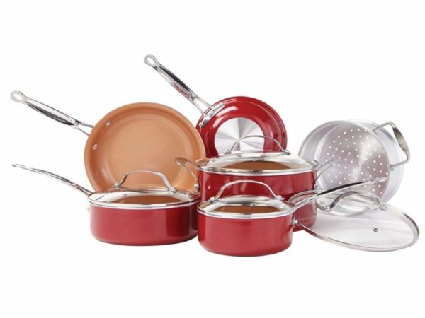 BulbHead 10824 Red Copper 10-Piece Copper-Infused Cookware Set