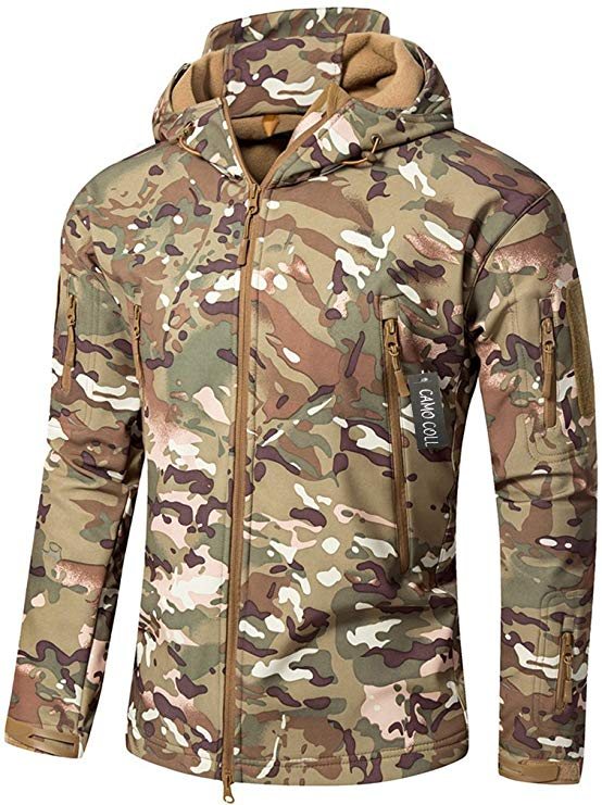 Camo Coll Men's Outdoor Soft Shell Hooded Tactical Jacket for emergency supplies