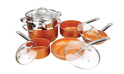 Copper H-02628 10-Piece Luxury Induction Copper Cookware