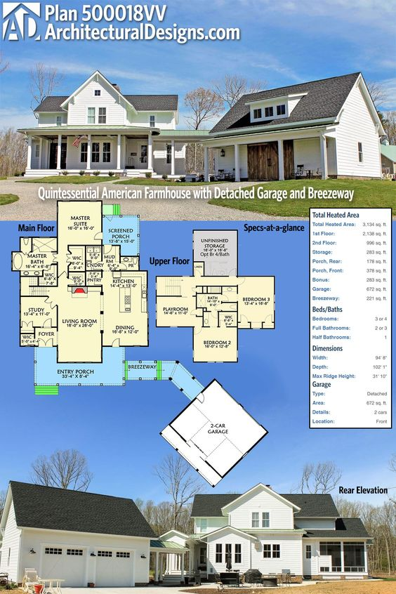 25 Gorgeous Farmhouse Plans for Your Dream Homestead House on victorian house plans with detached garage, small house plans with detached garage, ranch home plans with 2 car garage, large home plans with detached garage, farmhouse plans with detached garage, craftsman house plans with detached garage,