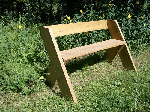 This Is Another Simple Bench Design It Has One Piece Of Wood Across The Back For Support Also Four Shorter Legs