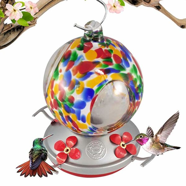 Grateful Gnome 24-ounce Glass Flower Hummingbird Feeder
