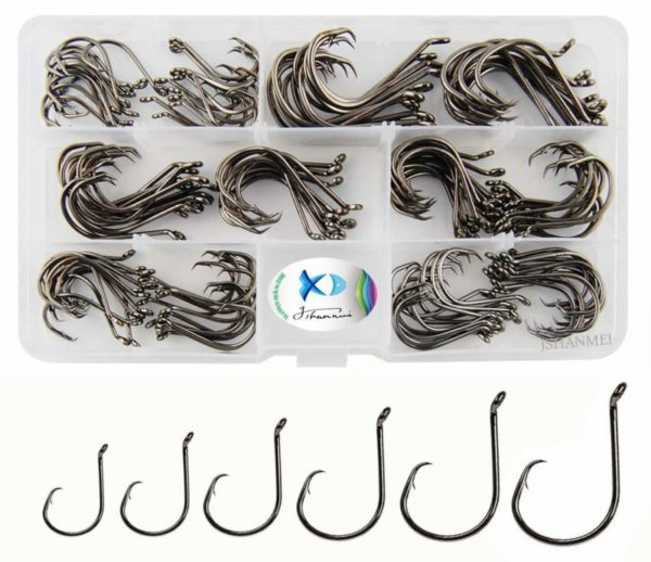 JSHANMEI 7384 150-pack of Sport Octopus circle Fishing Hooks