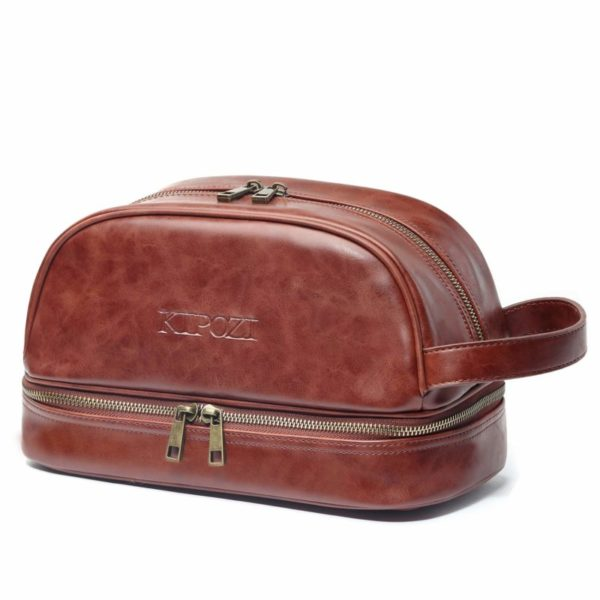 KIPOZI PU Leather Travel Bag Dopp Kit