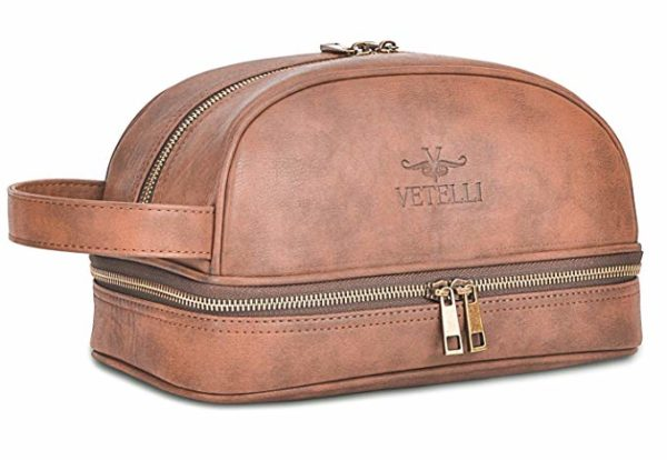 Vetelli Leather Dopp Kit Toiletry Bag for Men