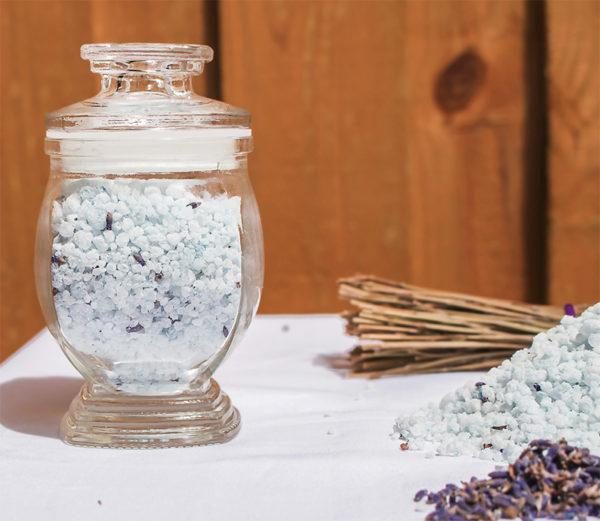 Epsom salts in a jar with lavender