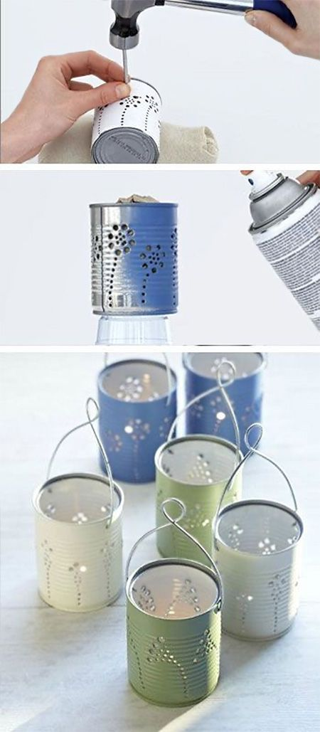 Recycled Can Tea Light Holders