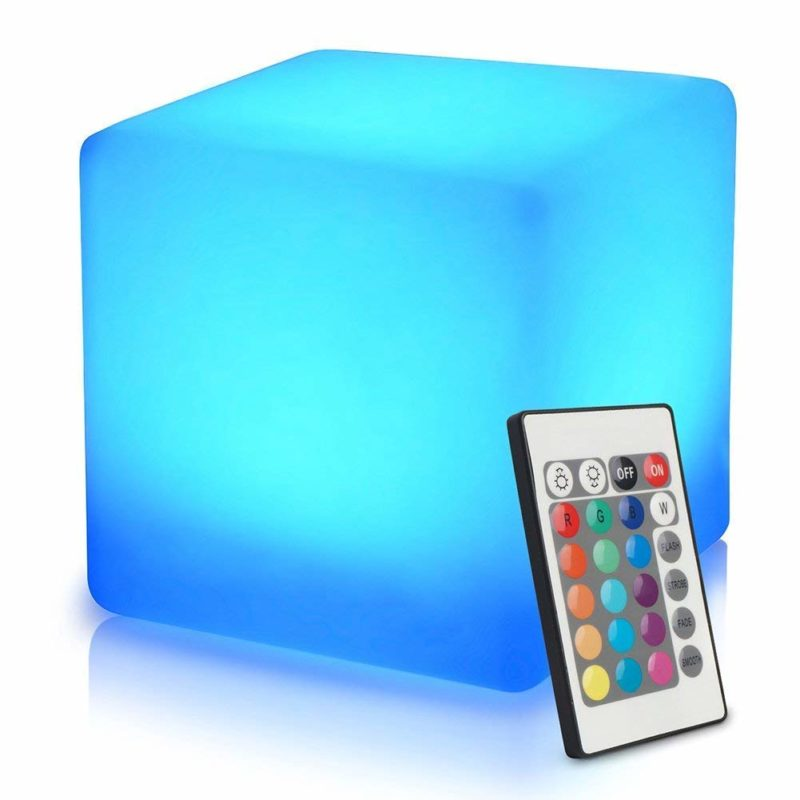 Mr. Go 16-inch Rechargeable LED Light Cube Stool