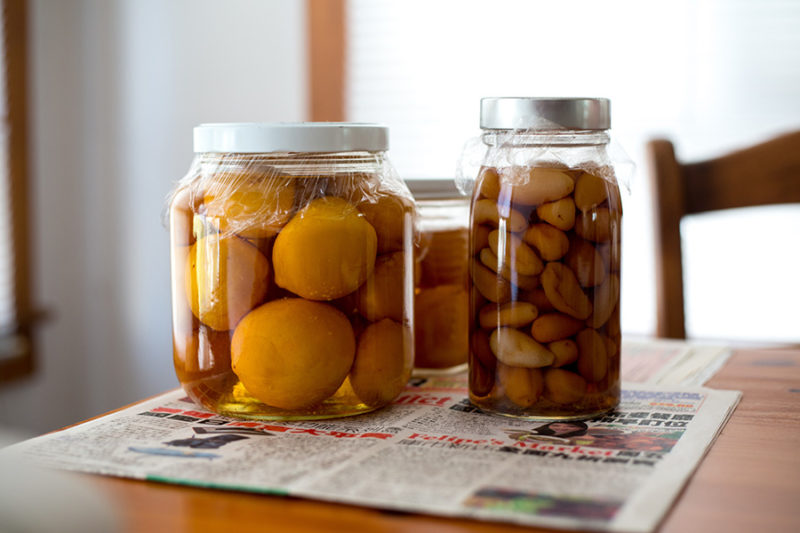 Pickled food in jars