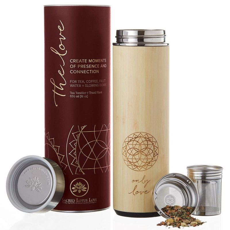 Sacred Lotus Love 18-ounce Bamboo Tumbler Thermos Flask