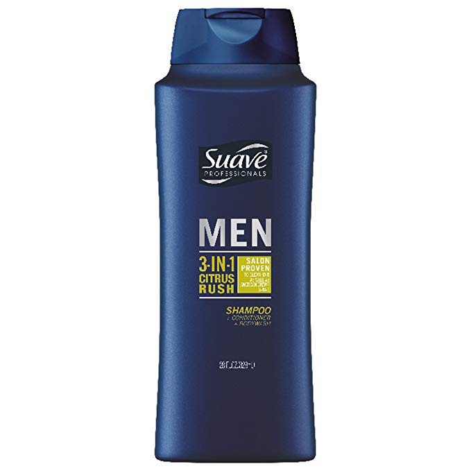 Suave Men 28-ounce 3-in-1 Citrus Rush Shampoo Conditioner Body Wash