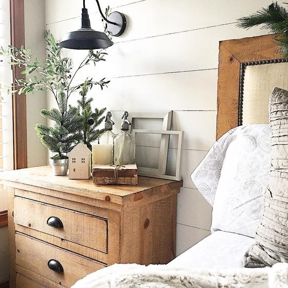 Adding Cute Little Decoration Details Can Make All The Difference In The  Farmhouse Bedroom. Little Wooden Houses, Tiny Pine Trees And Old Bottles  Make For ...