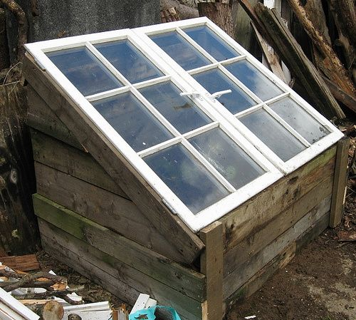A cold frame made out of pallet wood with windows for a roof