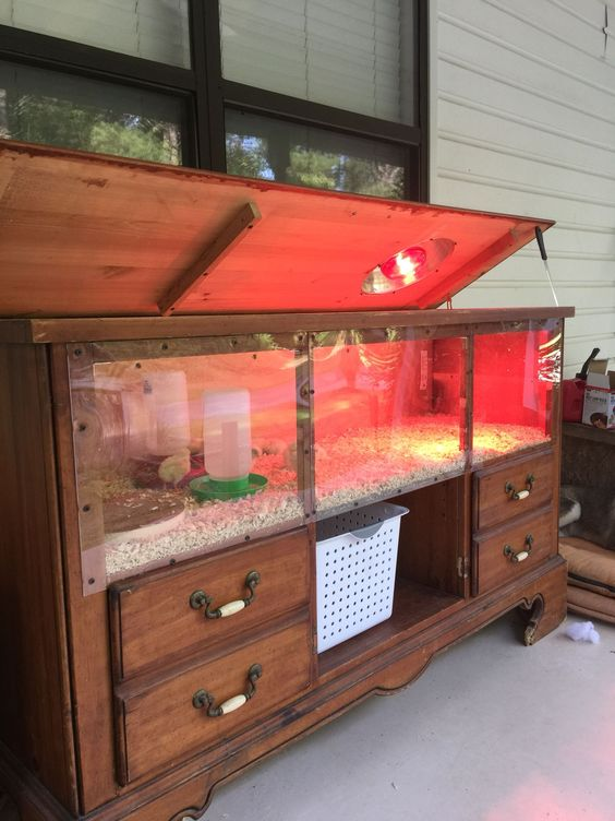 Turning an old dresser into a brooder looks like a lot of work to me. But the results are amazing. What a way to raise your chicks in style!