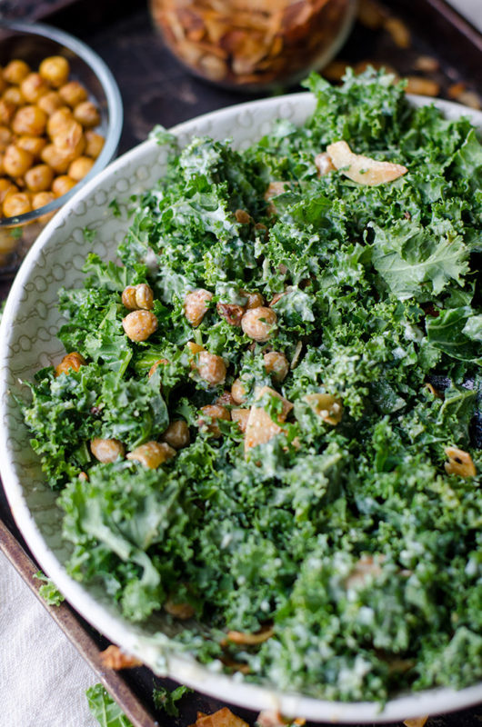 Kale leaves in a dressed salad